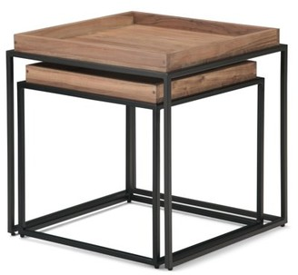 Brooklyn + Max Felman Solid Acacia Wood and Metal 22 inch Wide Square Industrial Contemporary 2 Pc Nesting Tray Top Table in Natural Acacia, Fully Assembled