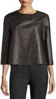 Lafayette 148 New York Odene Asymmetric Leather Topper Jacket, Granite