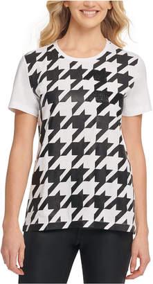 DKNY Houndstooth Beaded T-Shirt