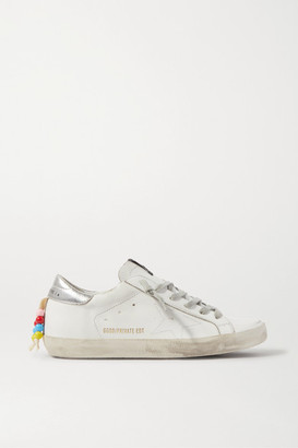 Golden Goose Superstar Bead-embellished Distressed Leather Sneakers - White