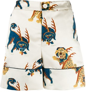 Dragon Optical Kirin print shorts