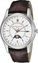 Frederique Constant Ferique Constant Men's FC330V6B6 Index Strap Moon Phase Dial Watch