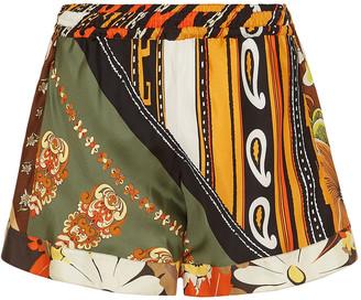 Chloé Printed Silk-satin Twill Shorts