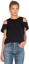 Rebecca Taylor Short Sleeve Open Shoulder Crop Top