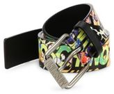 Moschino Fantasy Graphic Printed Leather Belt