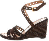 Prada Laser Cut Raffia Wedges