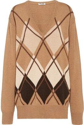 Miu Miu argyle loose jumper