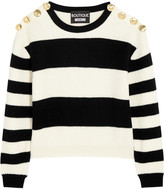 Moschino Cropped striped ribbed wool sweater