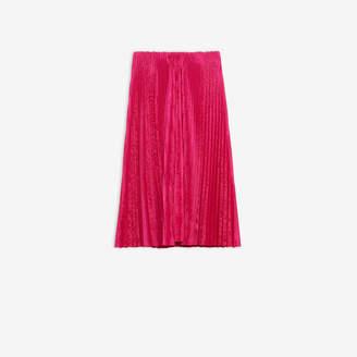 Balenciaga Pleated Kick Skirt in bright pink allover jacquard light nylon