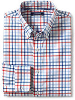 Lands' End Men's Tall Tailored Fit No Iron Twill Shirt-Eggshell Tattersall