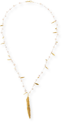 Sequin Pearl & Leaf Pendant Necklace