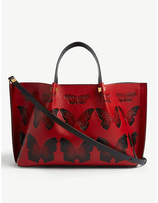 Valentino Butterfly print leather tote