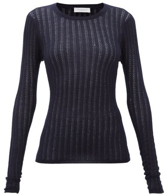 Gabriela Hearst Collins Pointelle Ribbed Cashmere-blend Sweater - Navy