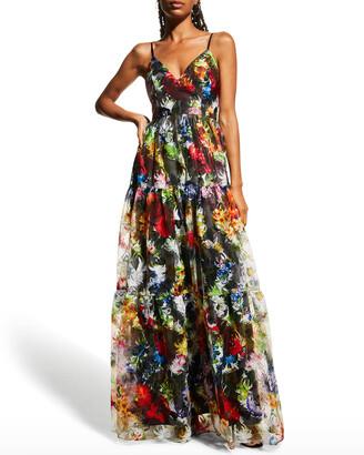 Aidan by Aidan Mattox V-Neck Sleeveless Embroidered Gown