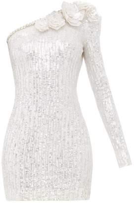 Balmain Sequinned One Shoulder Mini Dress - Womens - White Silver