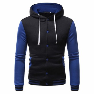 XWLY Men's Jacket Slim Fit Button Jacket Cotton Blend Soft and Comfortable Jacket Top Spring and Autumn Patchwork Fashion Youth Sports Jacket Blue. XL
