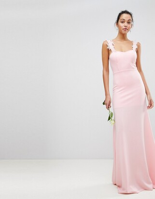 Club L London Bridesmaid Bandeau Maxi Dress With Applique Embroided Lace Detail-Pink