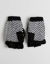 Plush Fleece Lined Herringbone Texting Smart Touch Mittens
