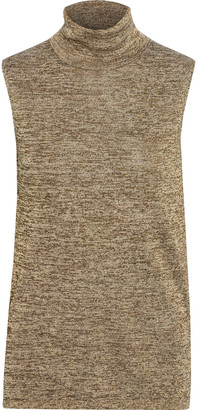 Veronica Beard Esther Metallic Melange Knitted Turtleneck Top