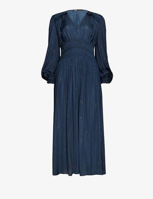 Maje Rianni rhinestone-embellished woven maxi dress