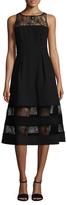 Aidan Mattox Illusion Velvet Midi Dress