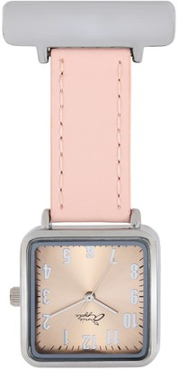 Bermuda Watch Company Annie Apple Square Rose Gold & Silver/Pink Leather Nurse Fob Watch