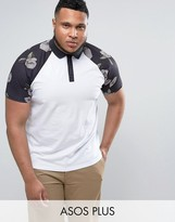 Asos PLUS Polo With Contrast Raglan Pixel Floral Print Sleeves