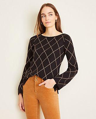 Ann Taylor Diamond Windowpane Boatneck Sweater