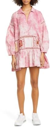 Olga Crochet & Tie Dye Long Sleeve Organic Cotton Minidress