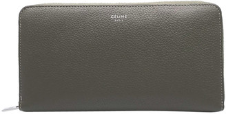 Celine Grey/Yellow Calf Leather Large Zipper Multi-function Wallet
