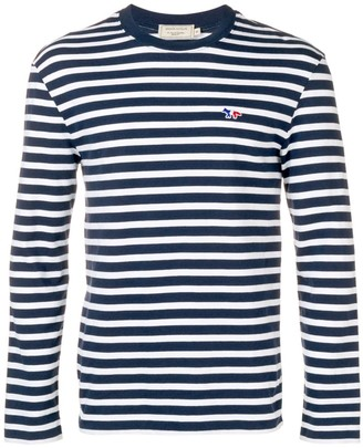 MAISON KITSUNÉ Striped Logo Sweatshirt