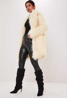 Missguided Premium White Shaggy Faux Mongolian Fur Coat
