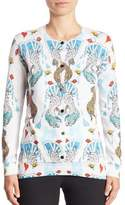 Mary Katrantzou Gong Card-Print Cotton Cardigan