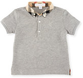 Burberry Mini William Check-Collar Pique Polo Shirt, Pale Gray Melange, Size 6M-3