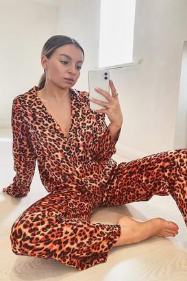 boohoo Fiery Leopard Satin Button Through PJ's