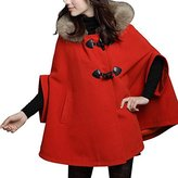 URqueen Women's Loose Hood Cloak Poncho Cape Coat Navy L