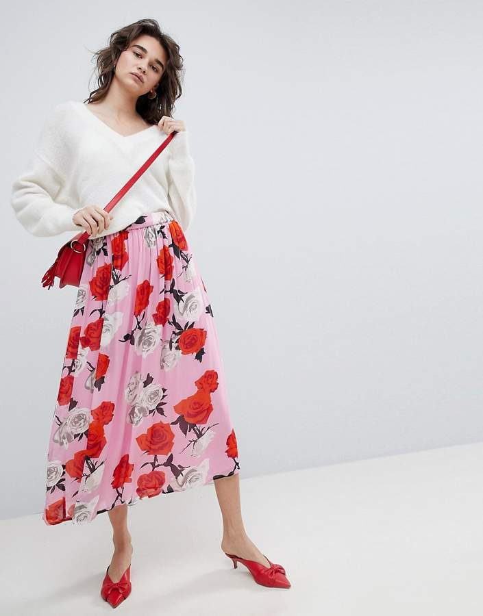 Gestuz Rose Printed Midi Skirt