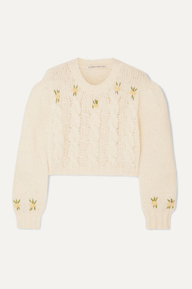Alessandra Rich Cropped Embroidered Cable-knit Alpaca-blend Sweater - White