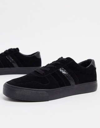 London Rebel side stripe lace up trainers in black