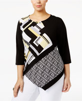 Alfred Dunner Plus Size Printed Asymmetrical Top