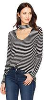 Calvin Klein Jeans Women's Long Sleeve Rib Stripe Choker Neck Top