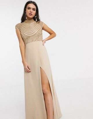 ASOS DESIGN maxi linear embellished bodice dress with high neck and wrap skirt in Beige