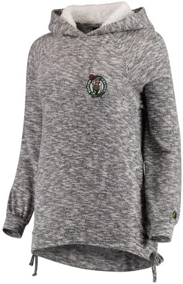 Women's FISLL Heathered Gray Boston Celtics Side Lace Sherpa Hacci Tri-Blend Pullover Hoodie