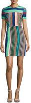Diane von Furstenberg Short-Sleeve Striped Tailored Mini Dress