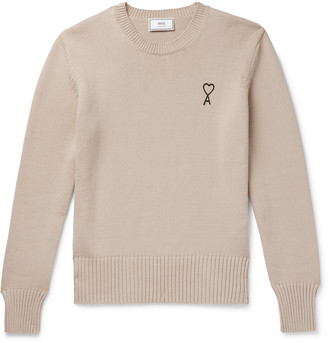 Ami Logo-Embroidered Cotton-Blend Sweater