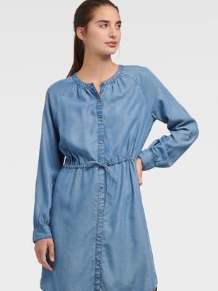 DKNY Women's Chambray Stand Collar Dress - Indigo - Size XX-Small