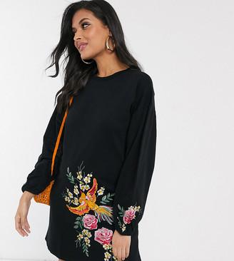 ASOS DESIGN Maternity embroidered sweat mini dress