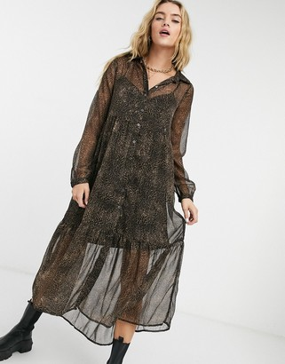 Noisy May tiered maxi shirt dress in leopard
