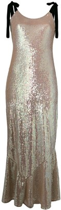 ATTICO Tie Shoulder Sequin Maxi Dress