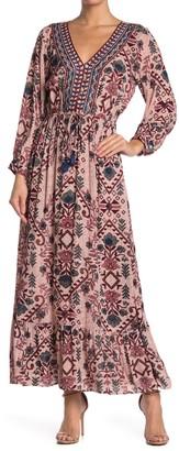 Angie Geo Print Long Sleeve Maxi Dress